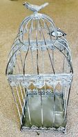 French Vintage Style Metal & Wood Decorative Lantern Stand